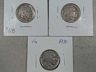 1925  1928   1930 Buffalo Nickels VG