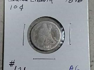 1876 Seated liberty Dime AG
