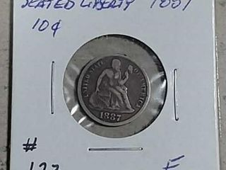 1887 Seated liberty Dime F
