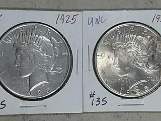 1925   1925 Peace Dollars Unc   XF