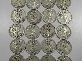 20 Walking liberty Half Dollars assorted date  mm