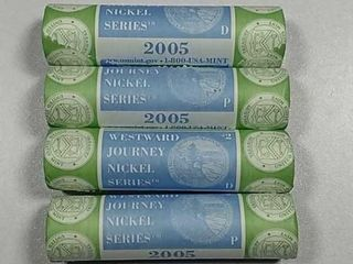 4 BU P D US  Mint Rolls of 2005 Jefferson Nickels
