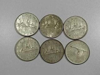 6 Canadian Silver Dollars all in 1960 s