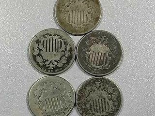 5 Shield Nickels AG