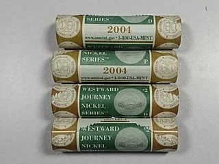 4 BU P D US  Mint Rools of 2004 Jefferson Nickels