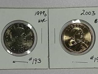 1999 D S B Anthony   2003 Sacagawea Dollars BU