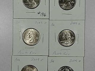3 sets of 2009 P D Washington Quarters BU
