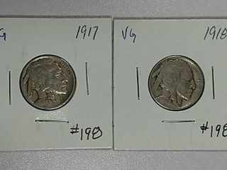 1917   1918 Buffalo Nickels VG
