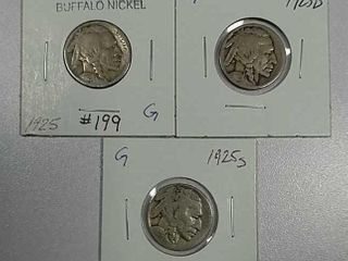 1925  1925 D   1925 S Buffalo Nickels G
