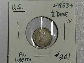 1853 w arrows Half Dime VF