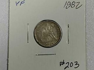 1882 Seated liberty Dime VF