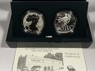 2013 W Two coin  1 Silver Eagle set Box   COA
