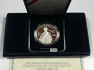 2004 P Thomas Edison Comm  Silver Dollar Proof
