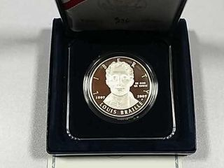 2009 P louis Braille Comm  Silver Dollar Proof