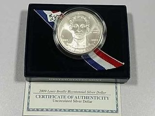 2009 P louis Braille Comm  Silver Dollar Unc