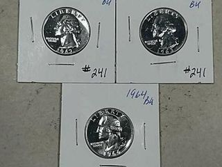 1962  1963   1964 Washington Quarters BU