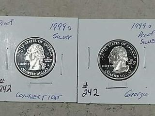 1999 S   1999 S Washington Silver Quarters Proof