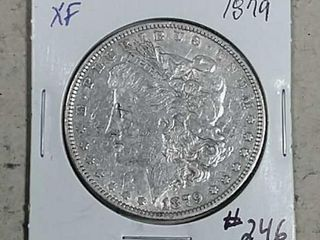 1879 Morgan Dollar XF details old cleaning