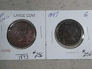 1843   1847 Braided Hair large Cents damaged