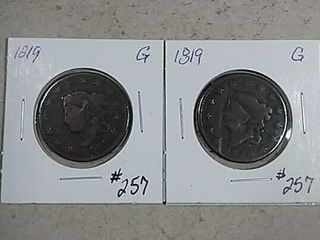 1819   1819 large Cents G details pits   dings