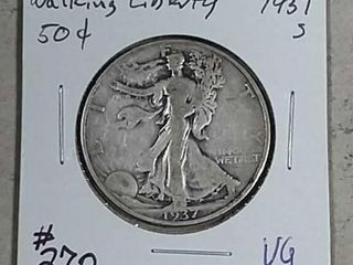 1937 S Walking liberty Half Dollar VG