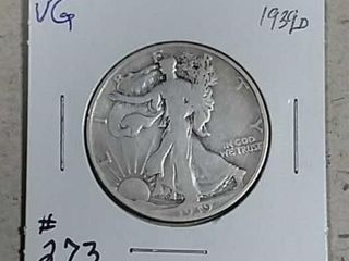 1939 D Walking liberty Half Dollar VG