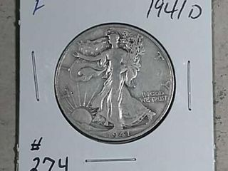 1941 D Walking liberty Half Dollar F