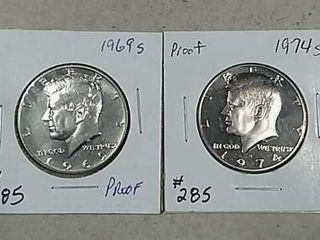 1969 S   1974 S Kennedy Half Dollars Proof