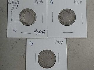 1908  1910   1911 liberty Nickels G