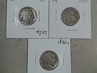 1918  1930   1930 S Buffalo Nickels VG