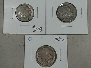 1920 S  1928   1929 D Buffalo Nickels G