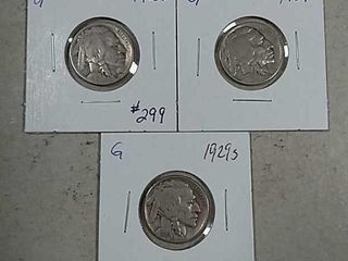 1923 S  1929   1929 S Buffalo Nickels G