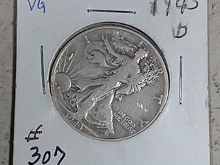 1943 D Walking liberty Half Dollar VG