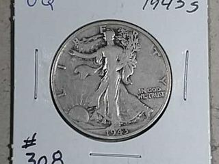 1943 S Walking liberty Half Dollar VG