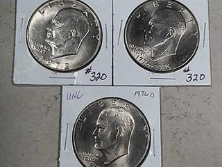 3 Unc D mint Eisenhower Dollars