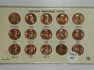 15 coin set of lincoln Memorial Cents BU