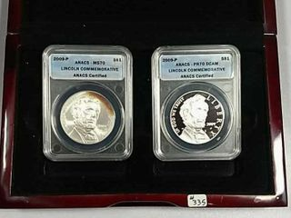 2009 P Abraham lincoln Comm  Silver Dollar set