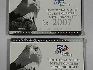 2007   2008 US  Mint Silver Proof State Quarters