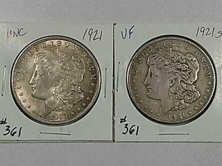 1921   1921 S Morgan Dollars Unc   VF