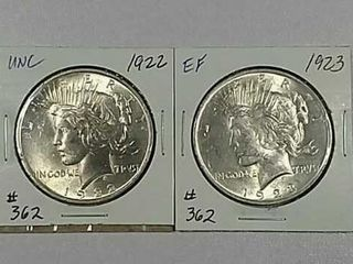 1922   1923 Peace Dollars Unc   EF