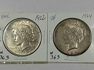 1922   1924 Peace Dollars Unc   VF