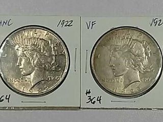 1922   1922 Peace Dollars Unc   VF