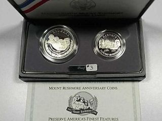 1991 S Mount Rushmore Two coin Comm Proof set