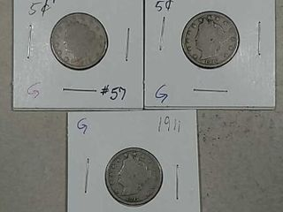 1909  1910   1911 liberty Nickels G