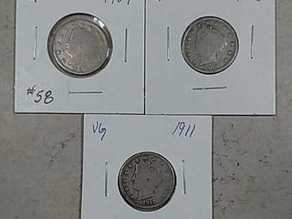 1907  1908   1911 liberty Nickels G   VG