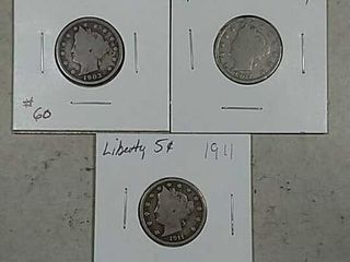 1903  1907   1911 liberty Nickels G