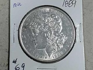1889 Morgan Dollar AU dipped