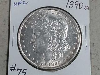 1890 O Morgan Dollar AU dipped