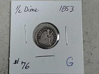 1853 w arrows Seated liberty Half Dime G