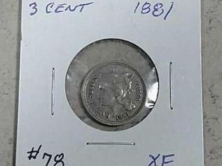 1881 Three Cent Nickel XF